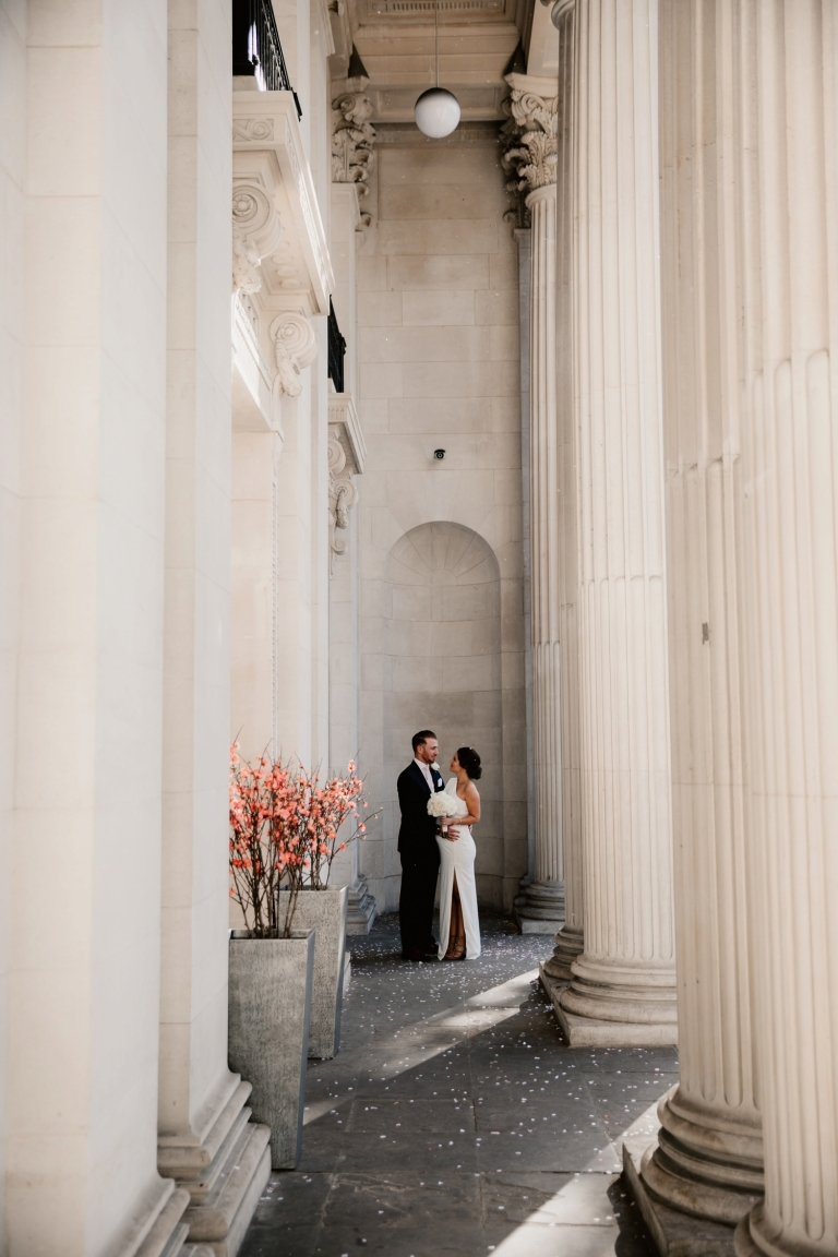 marylebone town hall intimate wedding bride and groom portrait